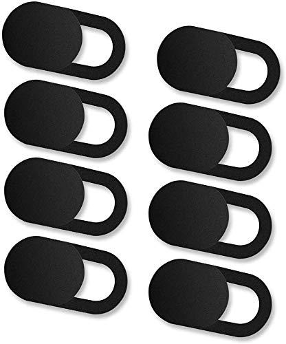 ivoler 8 Unidades Cubierta Webcam, Webcam Cover Slider Diseño Ultra Fino Camera Cover Tapa Webcam para Todo Tipo de Ordenadores Portátiles, Tabletas y Móviles Inteligentes - (Negro)