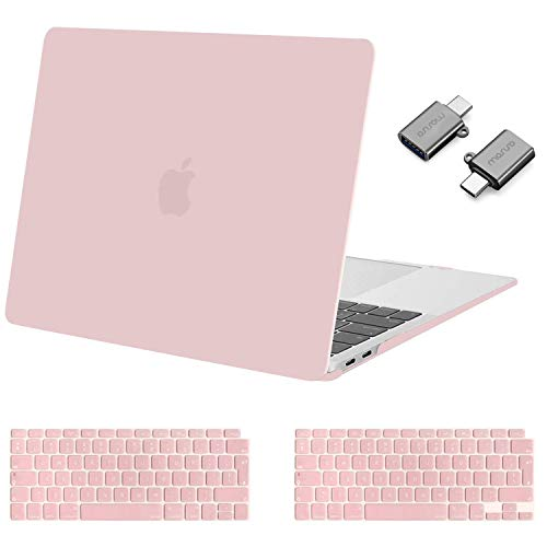 MOSISO MacBook Air 13 inch Case 2020 2019 2018 Release A2179 A1932, Plastic Hard Shell Case&Keyboard Cover&Type C Adapter 2 Pack Compatible with MacBook Air 13 inch with Retina Display, Rose Quartz