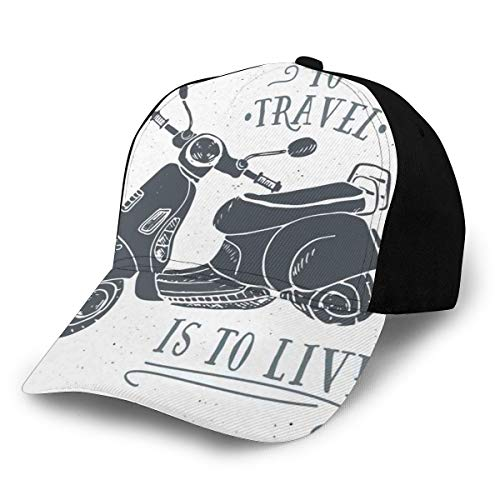 Hip Hop Sun Hat Baseball Cap,Sketch Scooter with To Travel Is To Live Quote Hand Drawn Design,For Men&Women