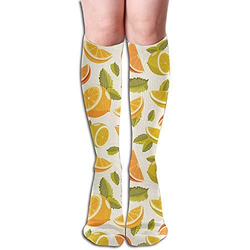KL Decor Herensokken, citroen-en-limoen-limoen-limonade decoratieve mode jurk sokken voor reizen wandelen fietsen 50 cm