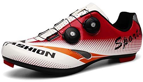 [NOXNEX] サイクルシューズ 通気性 MTBシューズ 自転車 SPD/SPD-SL両対応 カジュアル ロード シュ−ズ バイク 靴 快速靴紐 ベルクロ 滑りにく サイクリングシューズ メンズ用&レディーズ用 初心者(26.5cm,レッドホワイト)