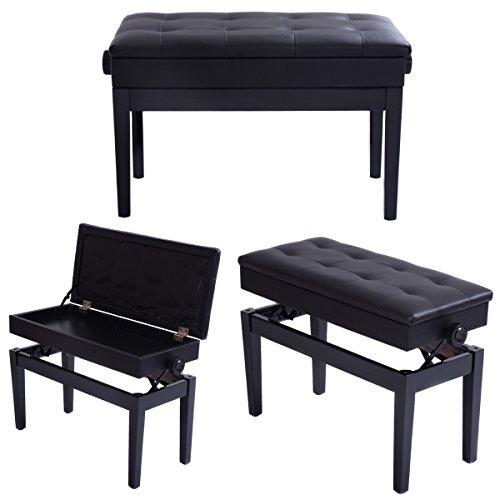 COSTWAY Tabouret de Piano Banquette de Piano Tabouret Rembourré en Bois Massif avec 2 Places, Hauteur Réglable Charge Max 150KG 73 X 34 X 46 CM Noir