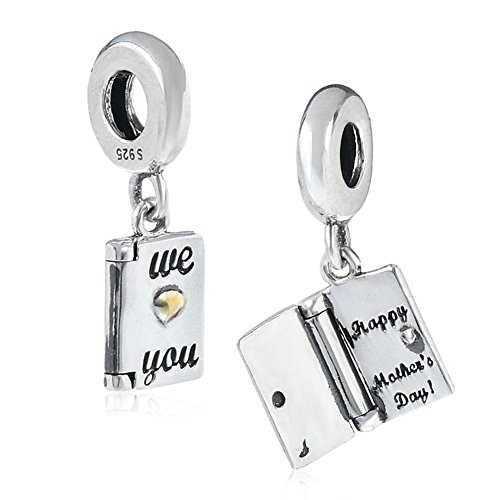 Happy Mother's Day Charm 925 Sterling Silver Love Charm Book Charm for Pandora Bracelet (A)