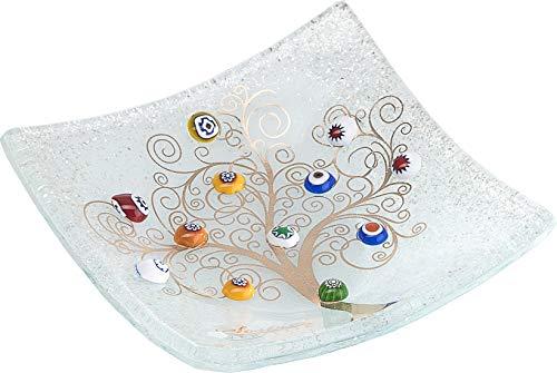 SOSPIRI VENEZIA Murano Glass Dish Square Baum des Lebens 15 x 15 cm, Glasverschmelzungstechnik und Verwendung von Murano-Mürrendekorationen. In Seiner eleganten lithografierten Schachtel.