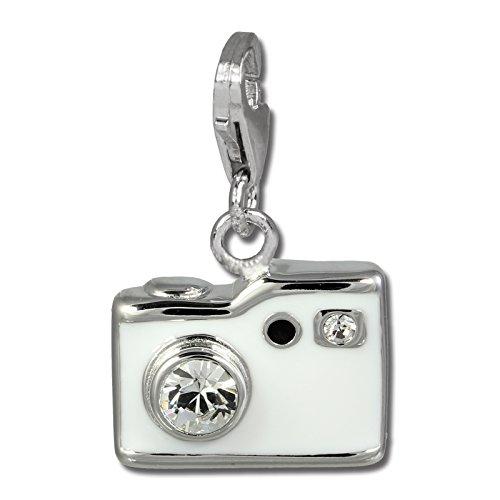 SilberDream takasugi aktions rasoio bianco con zirconi{925} in argento Sterling ciondolo per bracciale catena orecchino FC819W