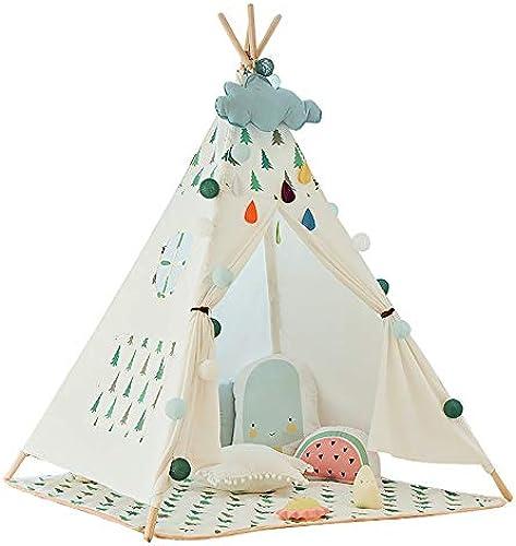 XBR Tipi Spielzelt für Kinder mit Bodenmatte Baumwolle - Segeltuch Kinderzelt Indianer (Weiß 160cm Hoch)
