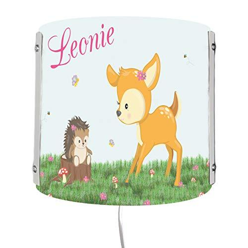 CreaDesign WA-1015, Reh, Kinderzimmer Wandlampe personalisiert mit Namen, Nachtlicht/Schlummerlicht für Steckdose, E14, 22 x 22,5 x 85 cm