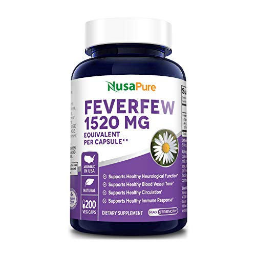 Feverfew 1520mg 200 Vegetarian Caps (Extract 4:1, Non-GMO & Gluten Free) Supports Healthy Neurological Function and Immune Response*