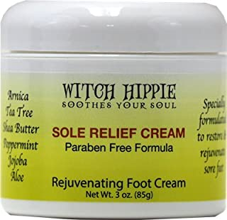 Witch Hippie Sole Relief Cream Fast Acting Rejuvenating Foot Cream 3oz Jar, Softens Feet, Relieve Sore Feet Fast
