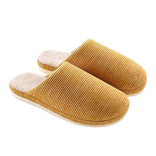 Plush House Shoes Pluszowe kapcie bawełniane domowe buty domowe buty damskie jesienna zima kryty gruby podofitu nadpoślizgowym ciepło miesiąca buty żółte (Size : 39~40)