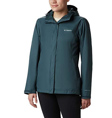 Columbia Women's Arcadia II Waterproof Breathable Jacket with Packable Hood, Dark seas, Large