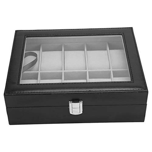 Caja de soporte de almacenamiento de reloj Accesorio de reloj de rejilla 10 con antipolvo