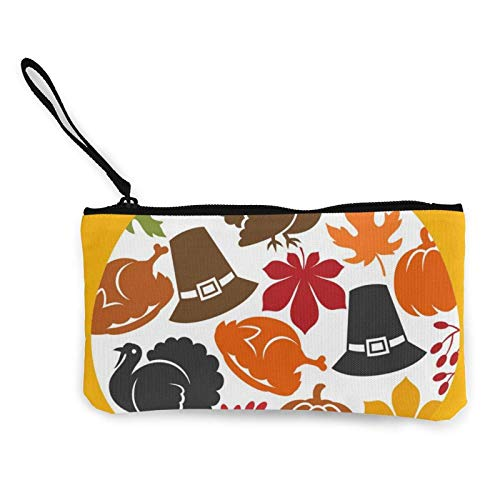 XCNGG Portamonete Shell custodia Happy Thanksgiving Day Canvas Coin Purse With Zipper Coin Wallet Multi-Function Small Purse Cosmetic Bags For Women Men