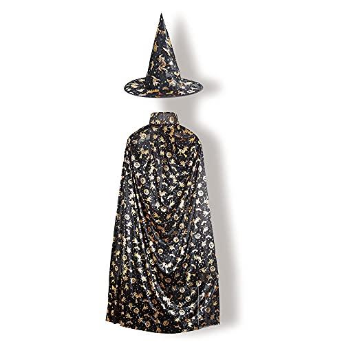 Capa de Halloween, Negro Largo Capa con Sombrero Disfraces de Bruja para Mujeres Hombres Halloween Carnaval Navidad Fiesta Disfraces para Adultos (61 Pulgadas)