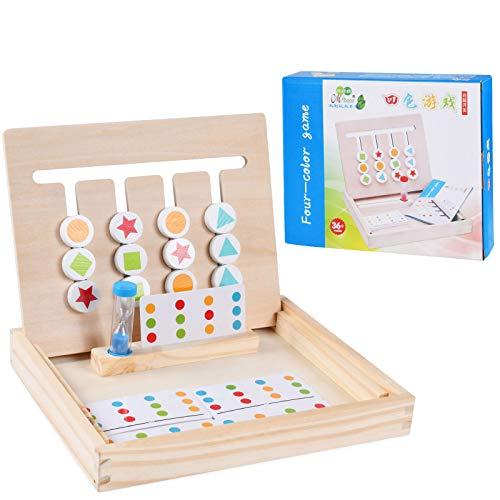Spielzeug Holz Puzzle Sortierbox,4 Farben Holzspielzeug Spiel Sortierung Sortierspielzeug,Kinder Lernspielzeug mit Matching Spiel, Magnetisches Holzpuzzle und Sanduhr,für Jungen Mädchen ab 3+Jahre