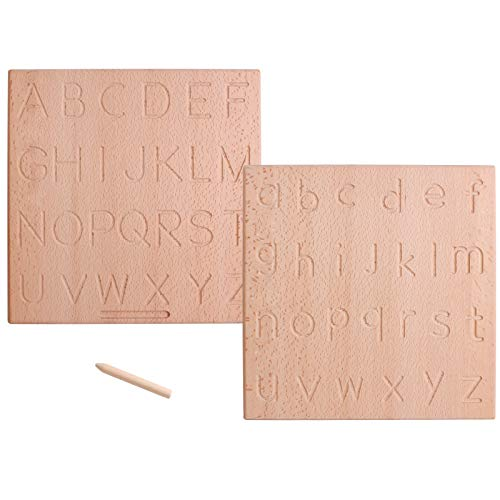 Dinhon Reversible Wooden ABC Learning & Education Aid Alphabet Tracing Board Uppercase and Lowercase Letters Montessori Letters Toys for Toddlers Preschool Sensory Play Writing aids