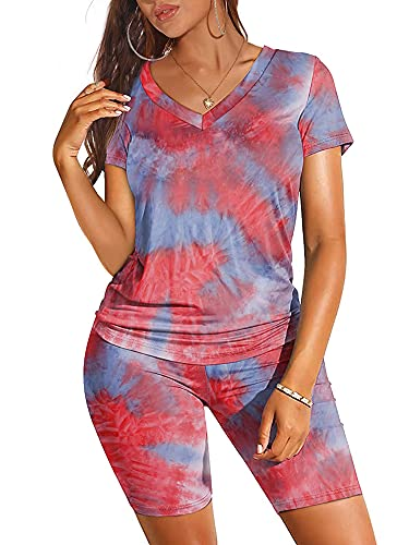 Mujeres 2PcsChándal Tie Teñido Camiseta Top y Pantalones Cortos Casual Manga Corta Pullover Sudadera Verano Ropa Deportiva