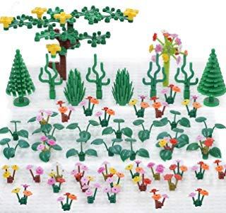 Sawaruita Plant Building Bricks Supplement, Garden Pack Trees and Flowers Botanical Accessories Block Compatible with All Major Brands Kids Games (Flowers and Trees)