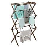 mDesign Tendedero de ropa plegable de bambú – Secador de ropa extensible con 3 niveles – Colgadores de ropa de diseño moderno para ahorrar espacio – marrón oscuro