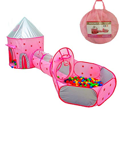 Famoy Foldable 3pc Princess Castle Play Tent, Crawl Tunnel and Ball Pit with Basketball Hoop for Boys Girls Babies Toddlers, Indoor & Outdoor Kids Playhouse (Pink)