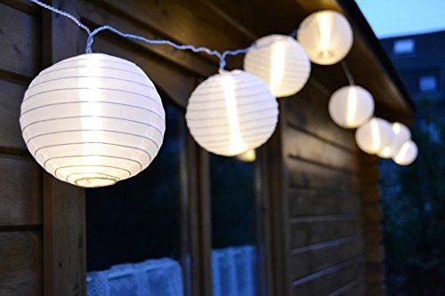 15 XXL LAMPION PARTYLICHTERKETTE 6,5m WARMWEIßE LEDs LICHTERKETTE LAMPIONS