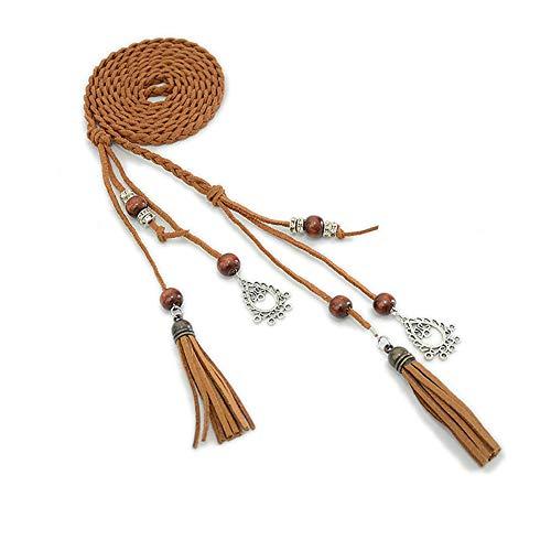 Dontdo - Cadena de cintura para mujer, cordón trenzado, flecos, delgada, cintura, cinturón de cuerda para atar, color marrón