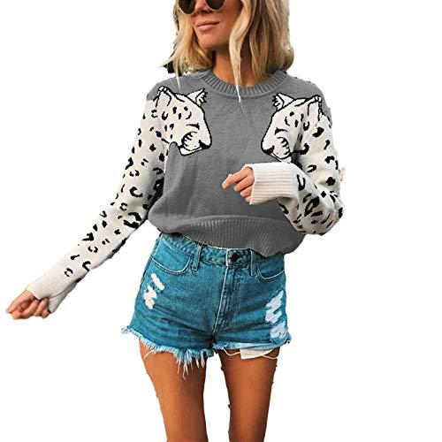 None/Brand Suéter para Mujer de Punto Estampado de Leopardo Recortado Jerseys Manga Larga Jersey de Invierno