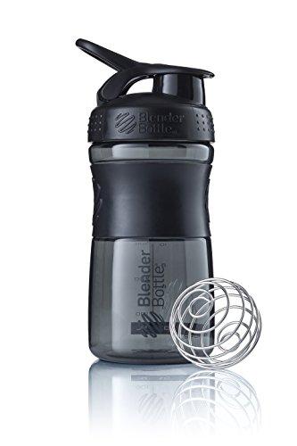 BlenderBottle Sportmixer Botella de agua | Botella mezcladora de batidos de proteínas | con batidor Blenderball | libre de BPA | Tritan| 590ml - negro/negro