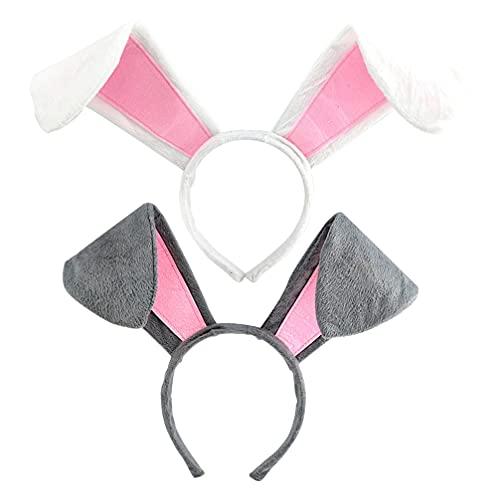 Lurrose 2 Piezas de Diademas de Orejas de Conejo Diadema de Conejo para Halloween Fiesta de Disfraces de Pascua Cosplay