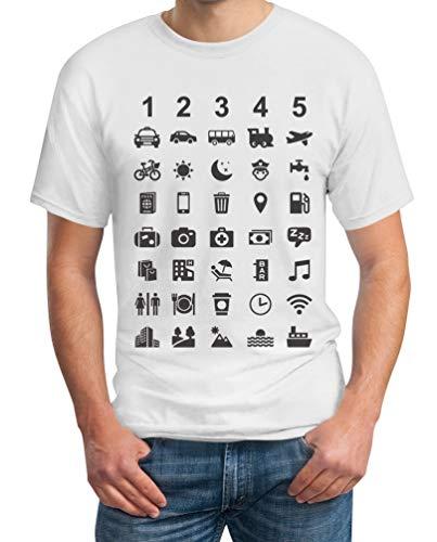 Reiseshirt Mit 40 Zeichen zur Verständigung Herren T-Shirt 4XL Weiß