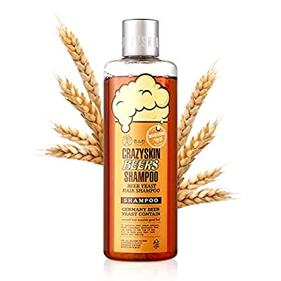 CRAZY SKIN Beers Shampoo 300g - pH 5.5 German Beer Yeast Scalp Care Hair Shampoo, No Silicone, Paraben Free, Rich in Biotin, Protein Contained, Anti Hair Loss Shampoo