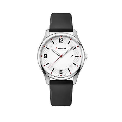 Wenger Hombre City Active - Reloj de Acero Inoxidable/Cuero de Cuarzo analógico de fabricación Suiza 01.1441.108