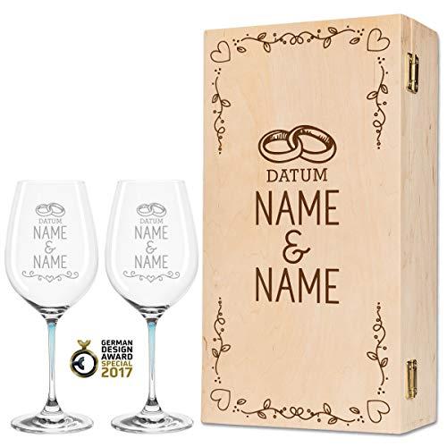 Leonardo La Perla - Copas de vino en exclusivo diseño de boda como set - Regalo de boda personalizado para la pareja de novios - Regalo de boda color azul
