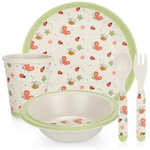 COM-FOUR® Vajilla infantil de 5 piezas - plato, bol, taza, tenedor y cuchara para niños - Vajilla de plástico para casa, picnic y camping (5 piezas - vajilla para niños)