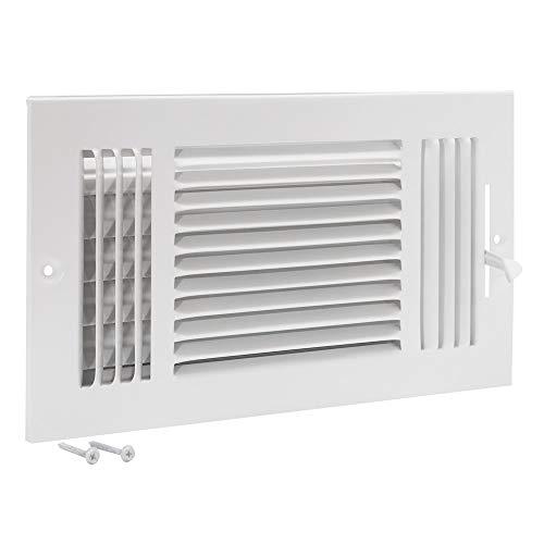 EZ-FLO 61615 Three-Way Sidewall/Ceiling Register, 12 inch x 6 inch Opening, White