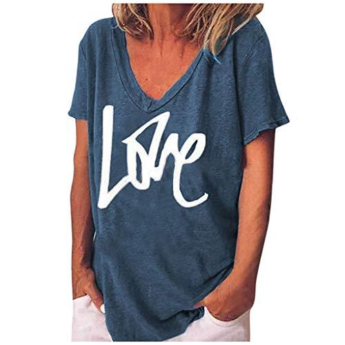 Frauen Top Sommer Mode großformatigen Briefdruck T-Shirt mit V-Ausschnitt Kurzarm Casual Plus Size Bluse