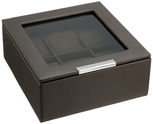 WOLF 309606 Stackable 6 Piece Watch Tray with Lid, Brown