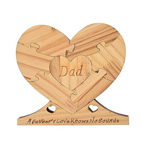 weizai Holz Herzform Plakette Ornamente Bambus Holz Plakette Vatertagsgeschenk Personalisiert Holzornamente, Kreative Herzförmige Heimdekoration, Abnehmbare Holzornamente