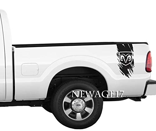 Ram Head Stripes Rear Bed Pickup Truck Scratch Vinyl Decals Side Stickers Set of 2 Racing (Black)
