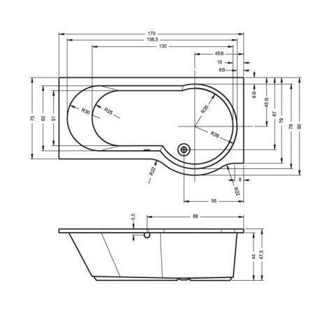 Riho–Badewanne Acryl Eck links Gold 170x 75–90cm