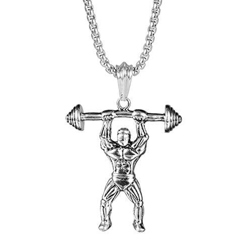 Toyvian Bodybuilder Halskette Stahl mit Langhantel Hals Anhänger Muskel Männer Anhänger Kette Halskette Geschenk für Männer 1St