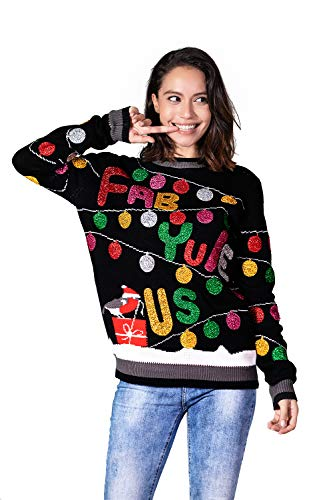 Unisex Women's Ugly Christmas Sweater Funny Classic Novelty Knit Pullover (Large)