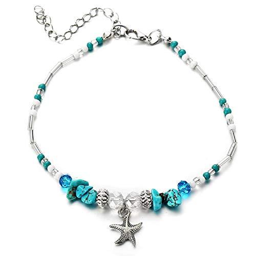 Tobillera de plata con colgante de estrella de mar y turquesa bohemia para mujer