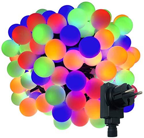 180-er XXL Party-Lichterkette | strombetrieben | 17,9m + Zuleitung | IP44 Innen- und Außenbereich | Deko | Weihnachten | Sommerlichterkette | Gartenlichterkette | Kugel-Lichterkette (Bunt)