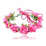 YAZILIND diadema flor ajustable cinta cinta niñas seaside holiday tocado de la corona de los niños (rojo rosa)