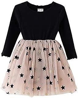 Mornyray Girls Autumn&Spring Cotton Mesh Dress Child Long Sleeve Tutu Princess Skirt