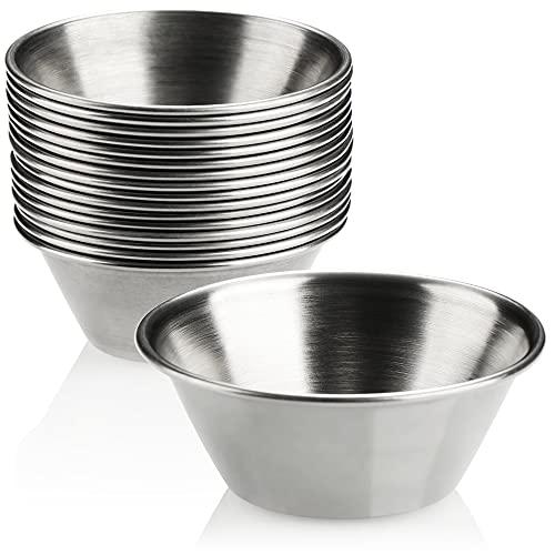 COM-FOUR® 16x Saucenschälchen - kleine Schalen - kleine Schüssel für Saucen, Dips und Snacks - Snackschalen - Gewürzschale - Metallschüssel klein - rostfreier Edelstahl