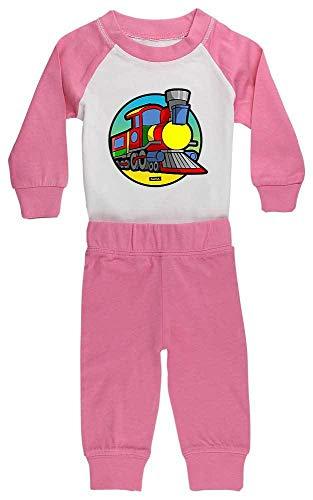 HARIZ Baby Pyjama Eisenbahn Tut Tut Auto Polizei Plus Geschenkkarte Pink/Fuchsia 12-18 Monate