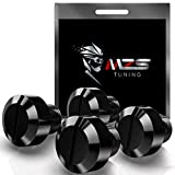 MZS Mirror Hole Plugs - Motorcycle Mirrors Blanking Cover Caps Universal Black CNC 4 Pcs M10 X 1.25 Clockwise Reverse Compatible with Street Naked Road Bike