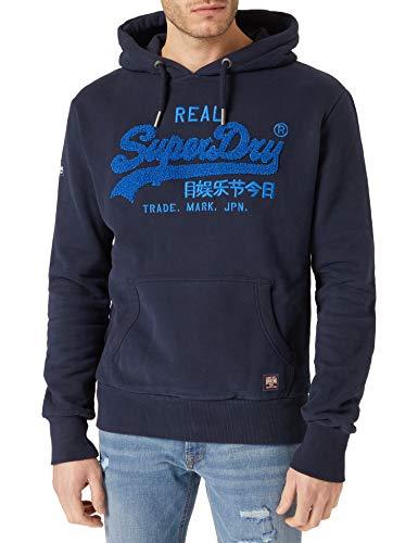 Superdry Mens VL Chenille Hood Hooded Sweatshirt, Nautical Navy, XL